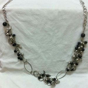 Long Black Beaded Necklace Chunky